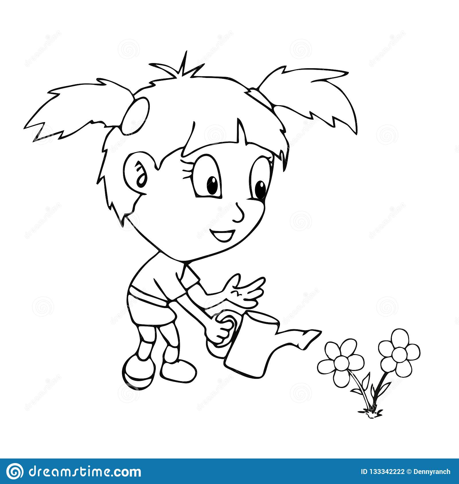 Jardinage De Fille De Livre De Coloriage Illustration Stock