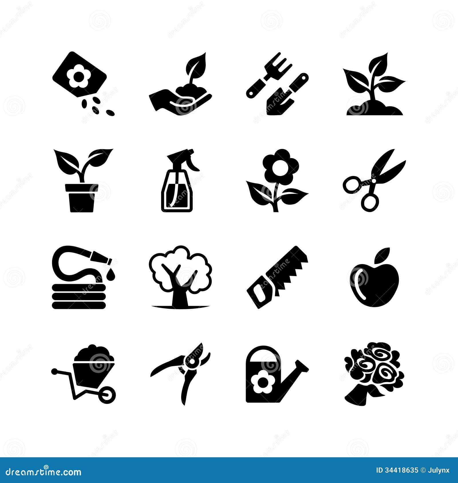 Jardinage réglé d icône de Web