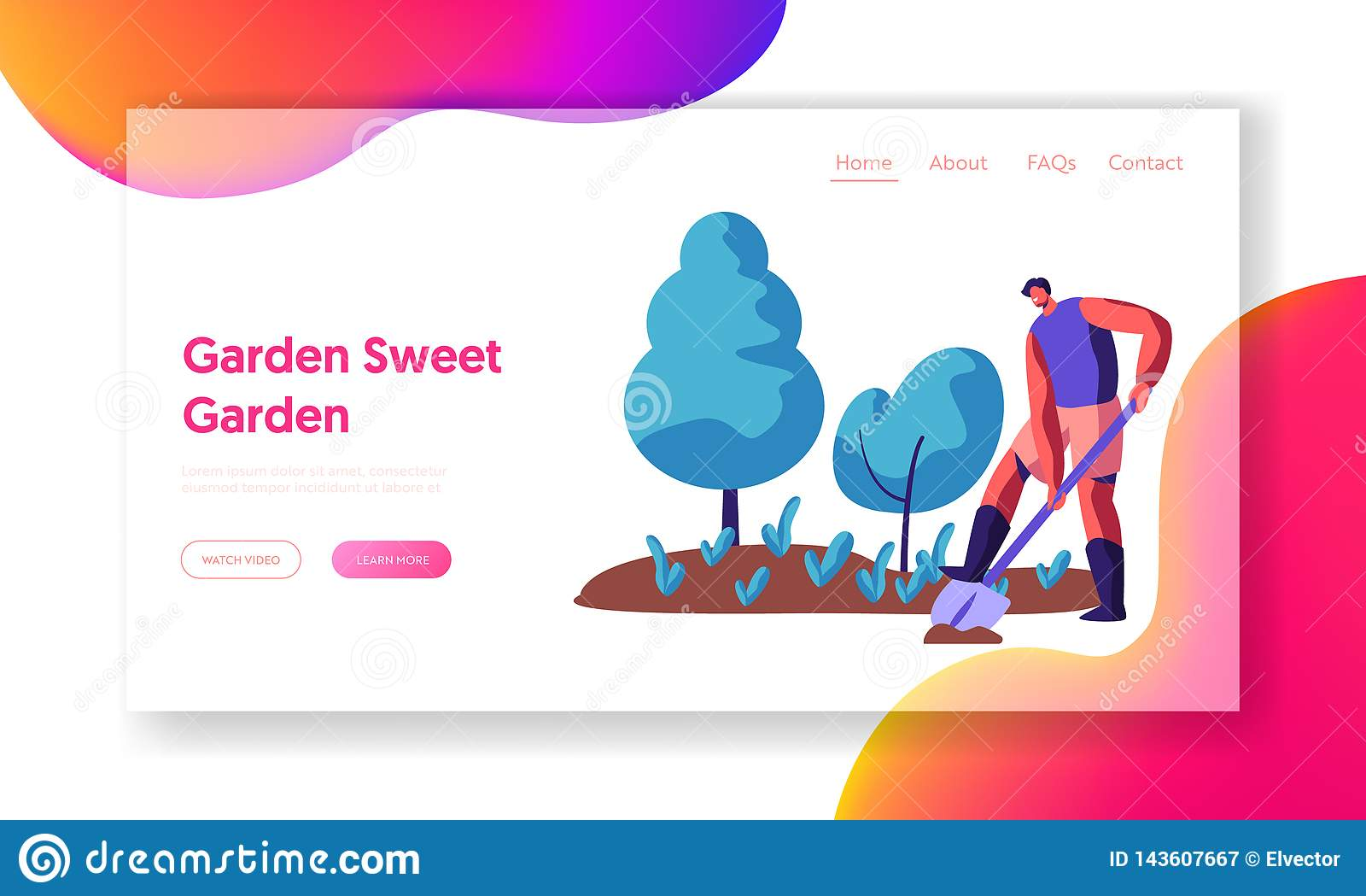 Jardineiro do homem com pá ou pá Dig Land na página da aterrissagem do jardim Caráter masculino Dig Plant Outdoor com plantação d