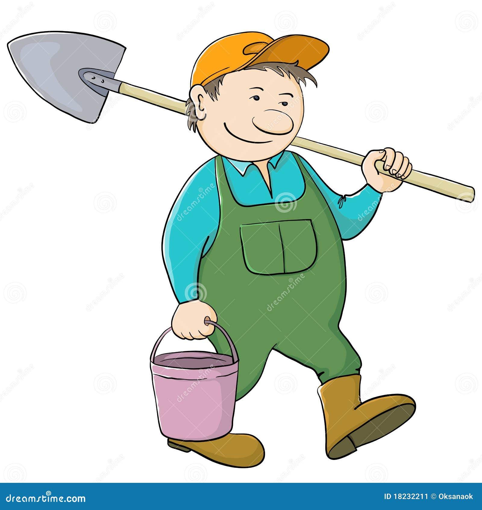 Jardinero del hombre con el compartimiento y la pala for Trabajo jardinero