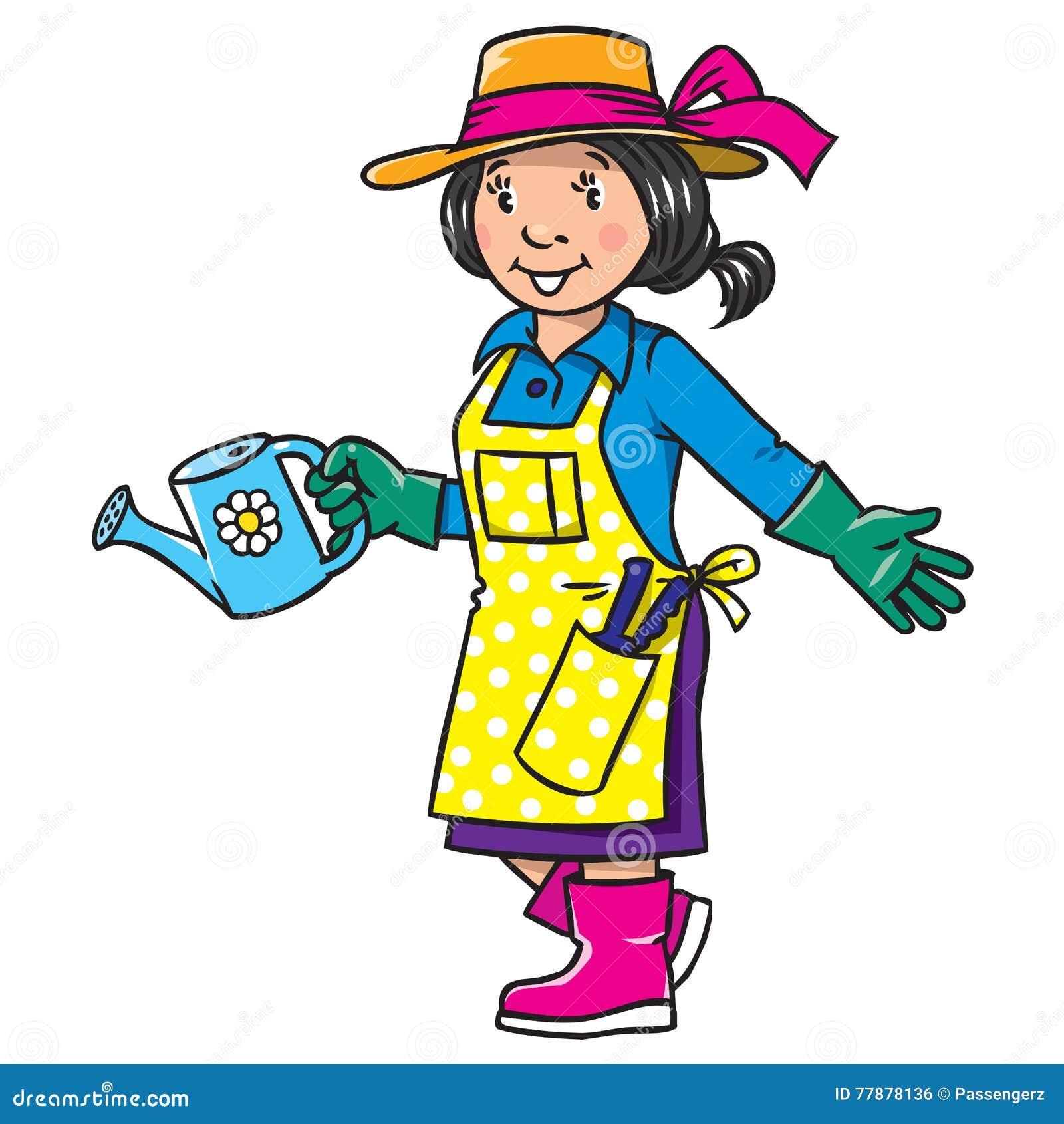 Jardini re dr le de femme s rie de profession illustration - Dessin jardinier humoristique ...