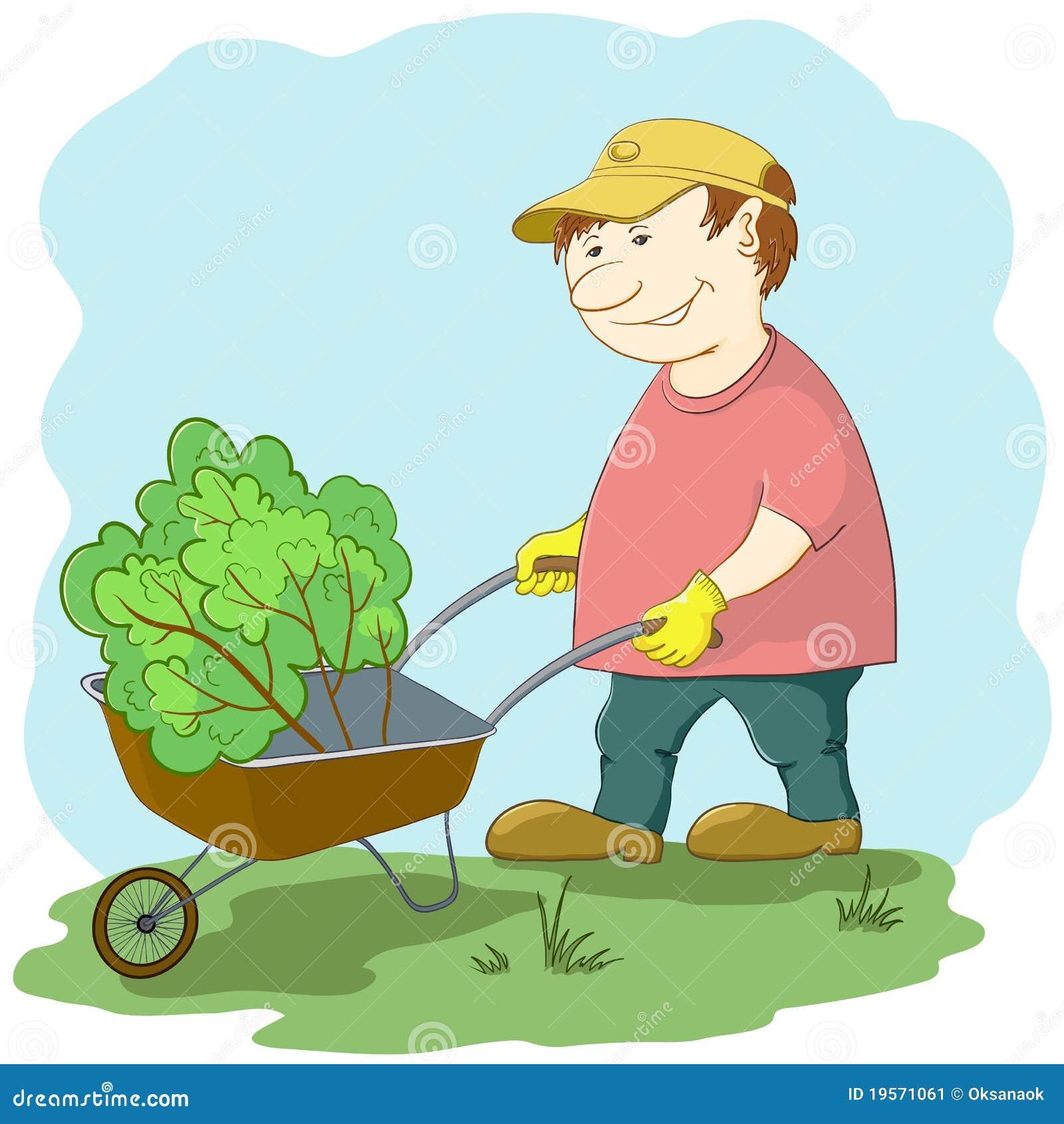 Jardinier avec la brouette image stock image 19571061 for Jardin de jardiniers