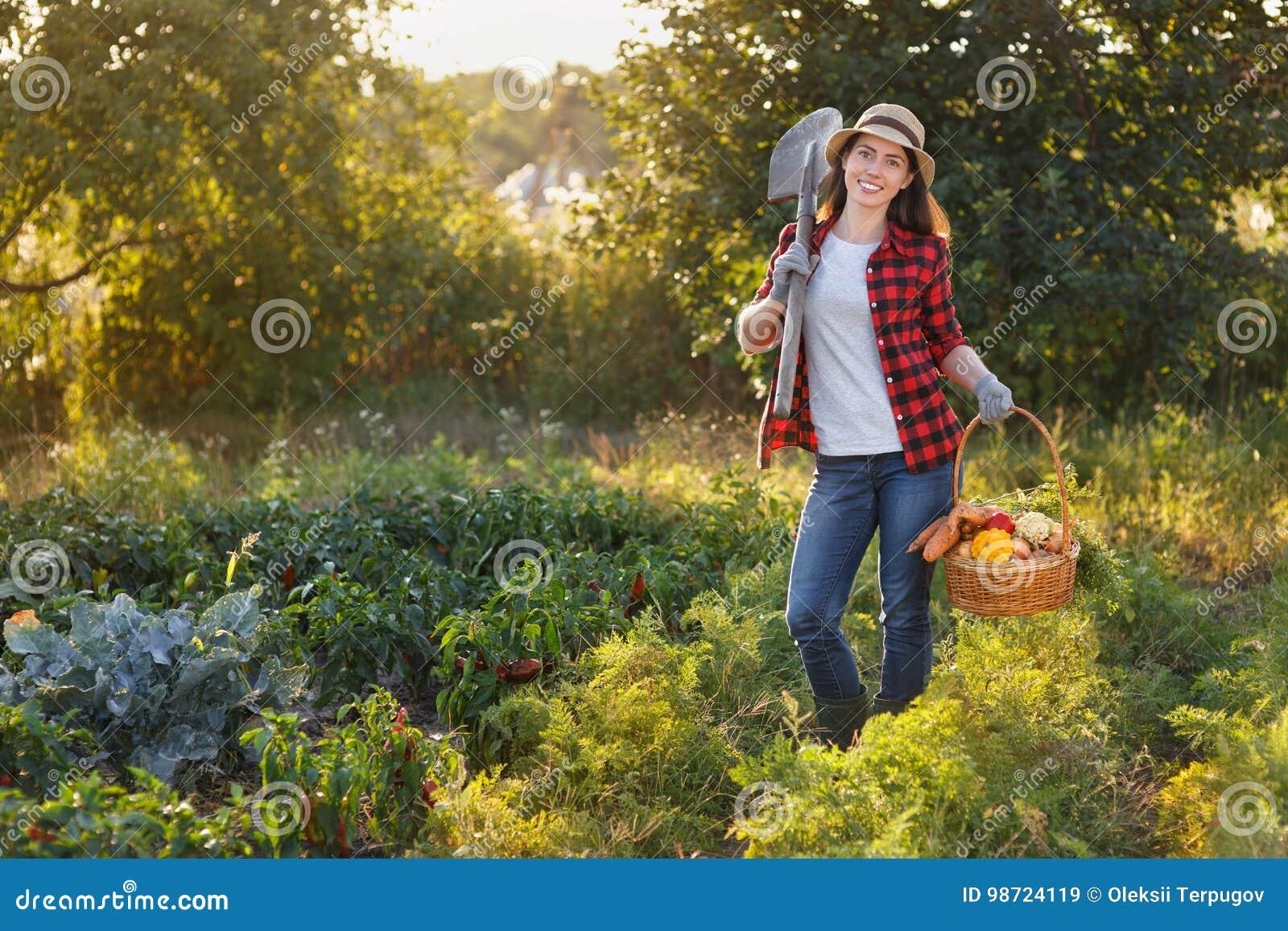 Jardinier avec le panier des légumes