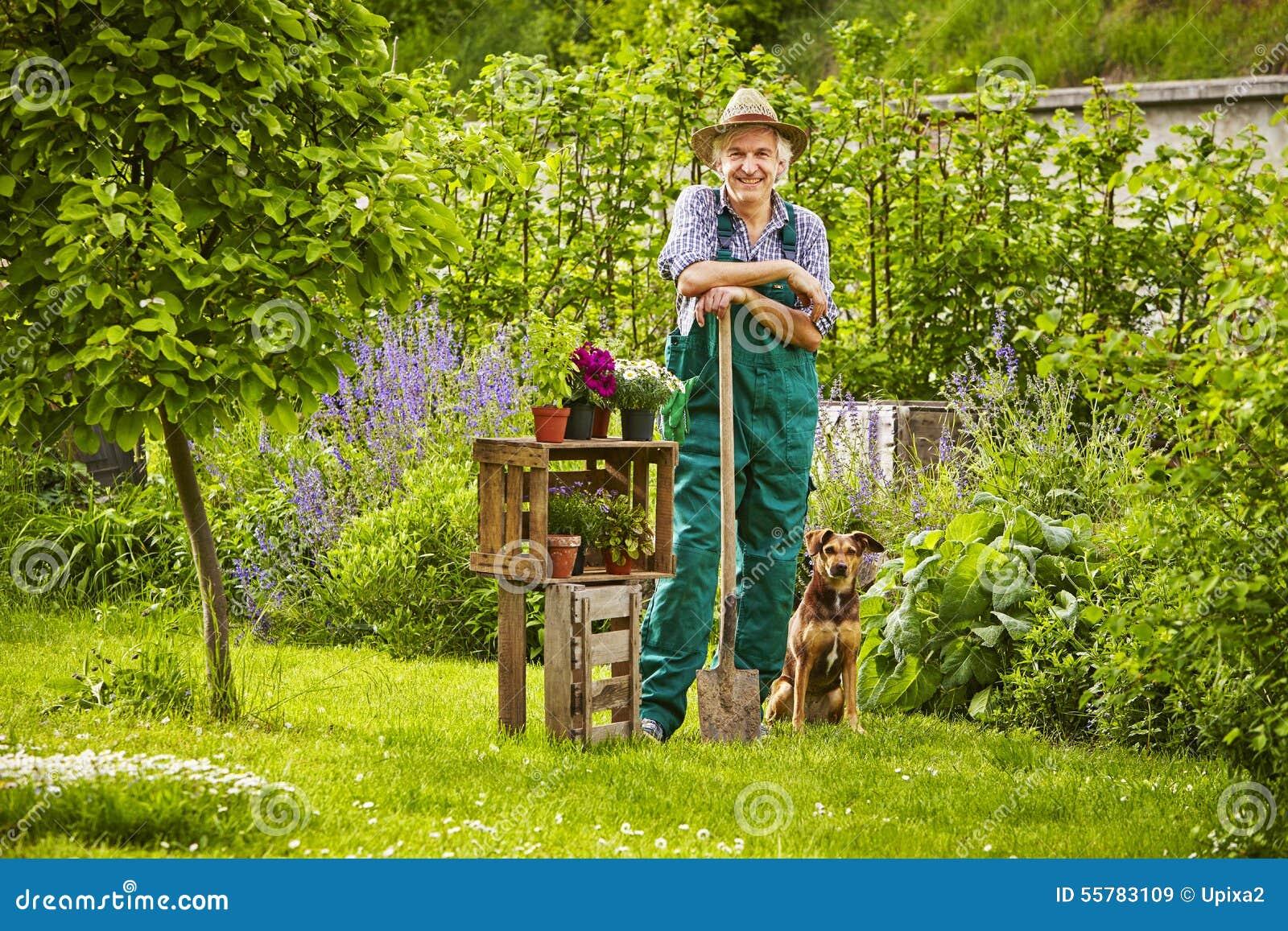 Jardinier debout de chapeau de chien de jardin image stock image 55783109 for Jardin de jardiniers