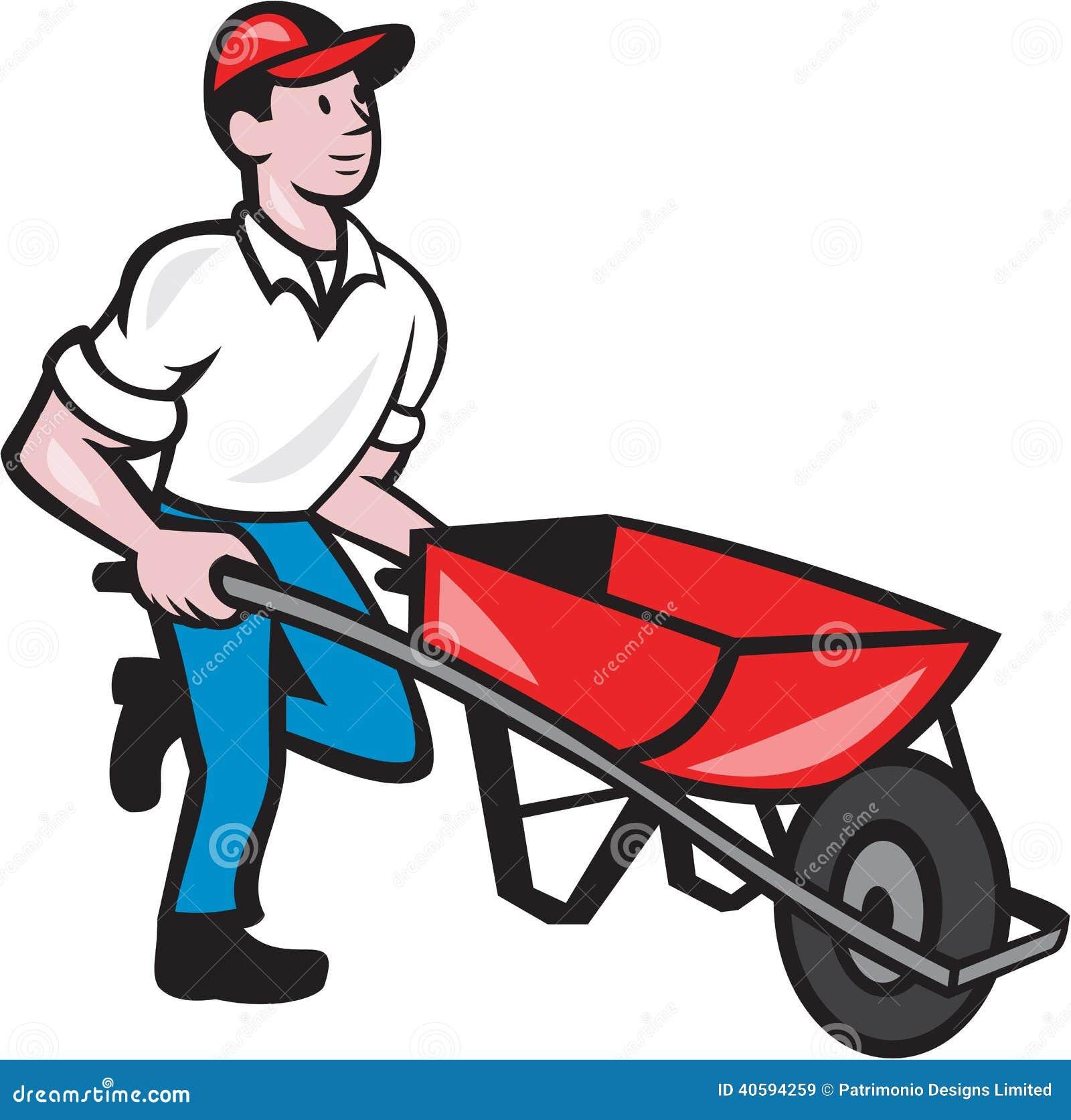 jardinier pushing wheelbarrow cartoon illustration de. Black Bedroom Furniture Sets. Home Design Ideas