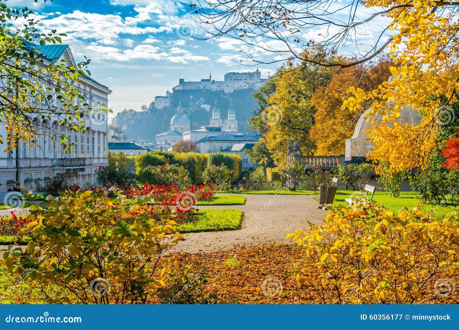 Jardins c l bres de mirabell avec la forteresse historique for Jardins anglais celebres