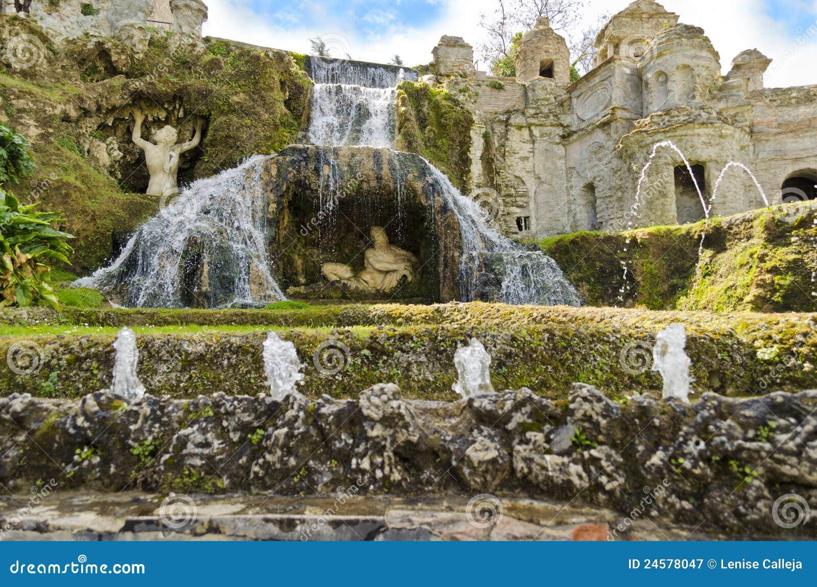 Jardins de d 39 este de villa tivoli en italie image stock for Jardin villa d este