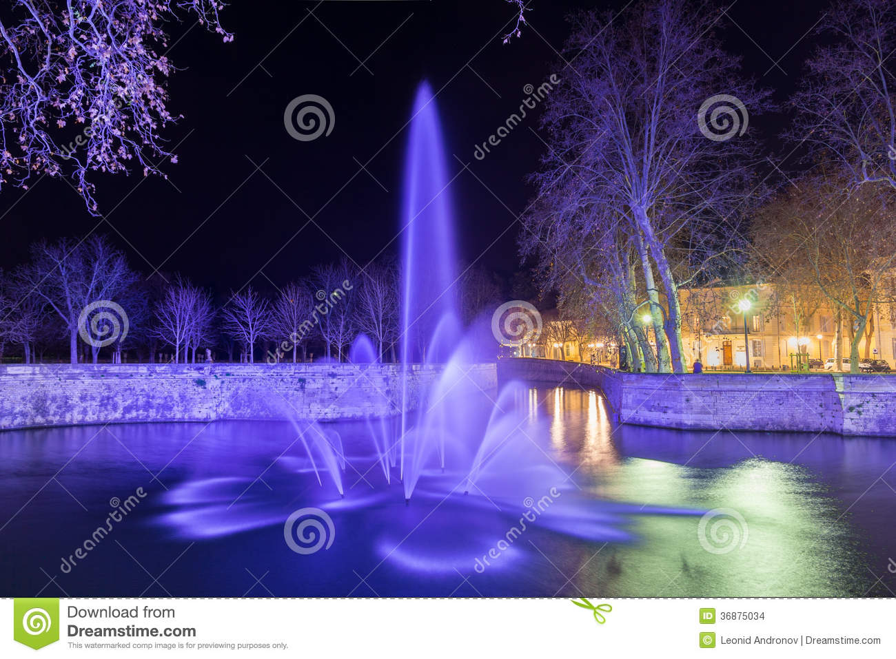 jardins de la fontaine in nimes at night france stock photo image 36875034. Black Bedroom Furniture Sets. Home Design Ideas