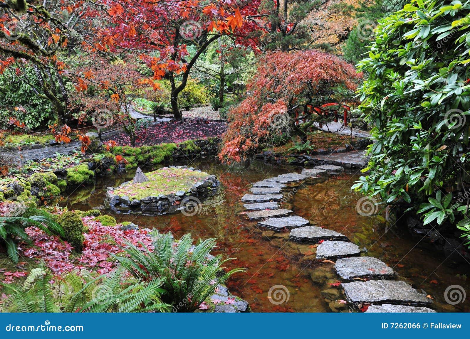 fotos jardins japoneses:jardim japonês dentro do butchart histórico jardina no outono