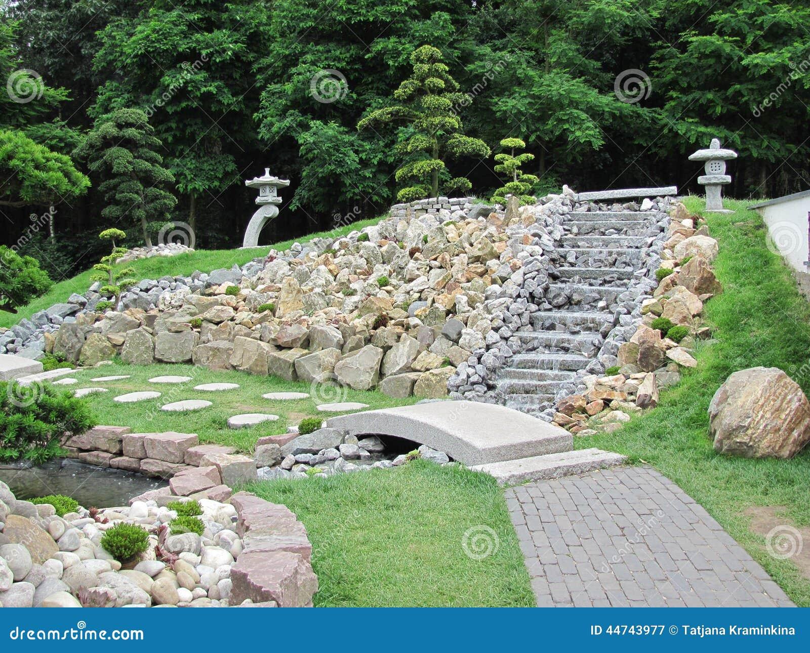 Jard n chino con las escaleras de una fuente foto de - Scale in giardino ...
