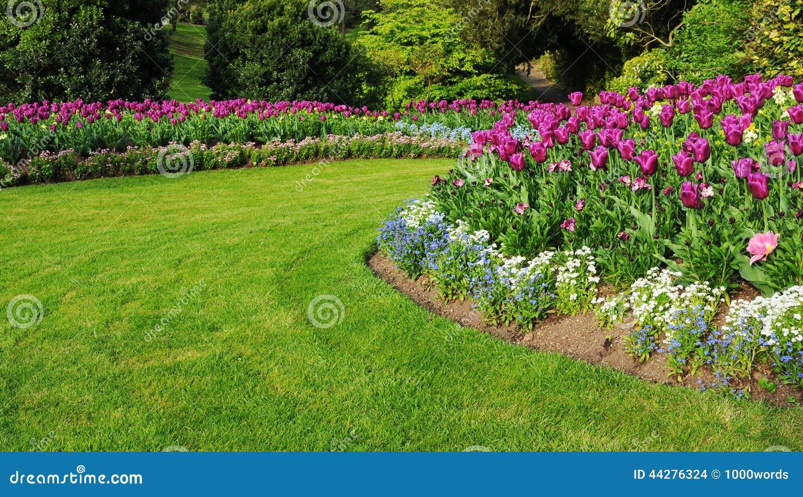 Jard n con un macizo de flores y un c sped coloridos de la for Hierba jardin