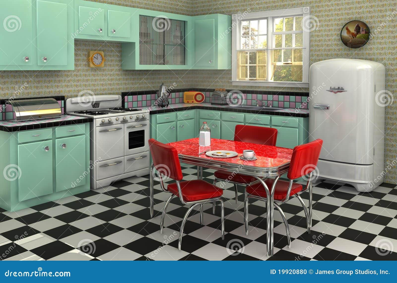 Jaren 50 Keuken Stock Foto Afbeelding Bestaande Uit