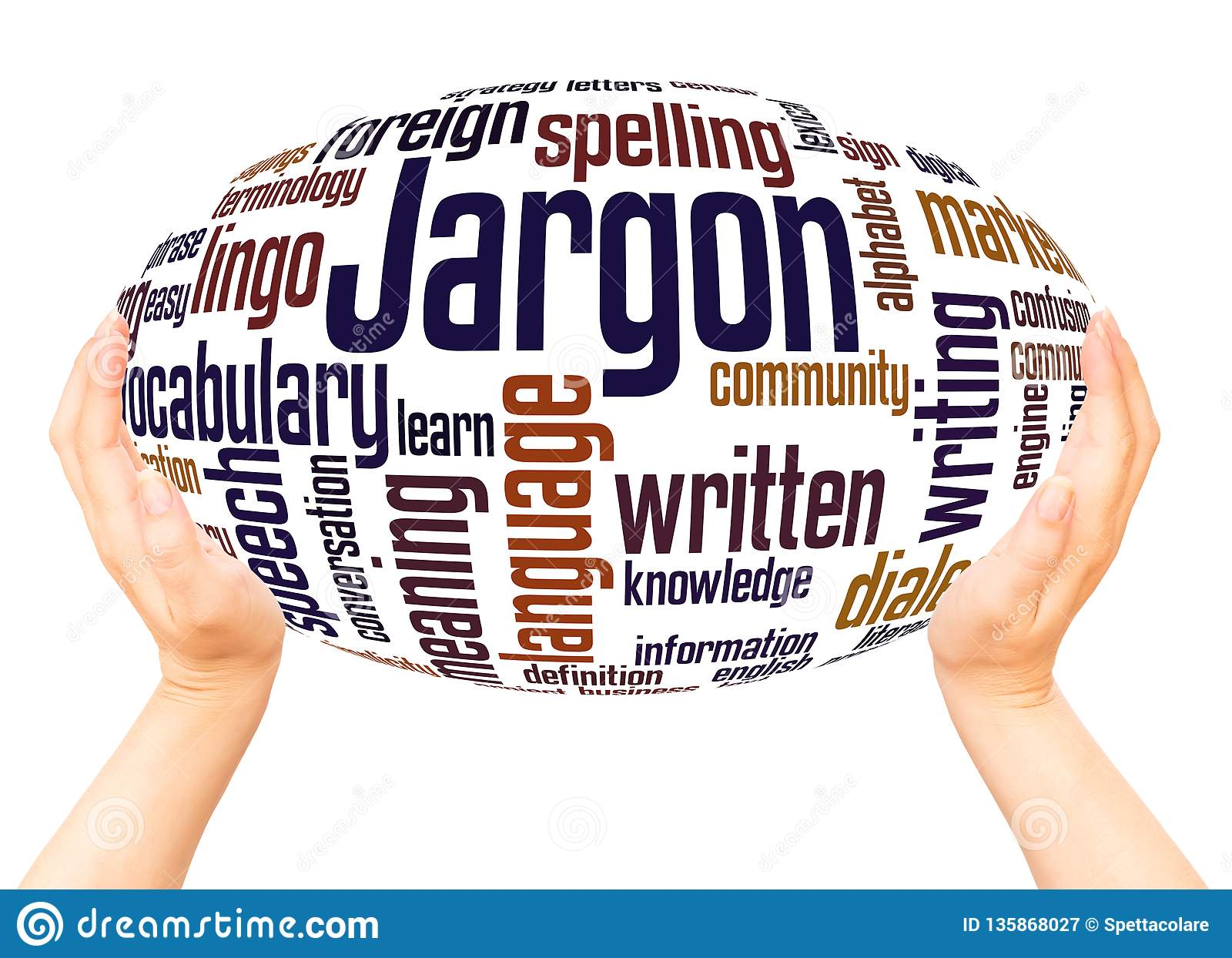 Jargon word cloud hand sphere concept