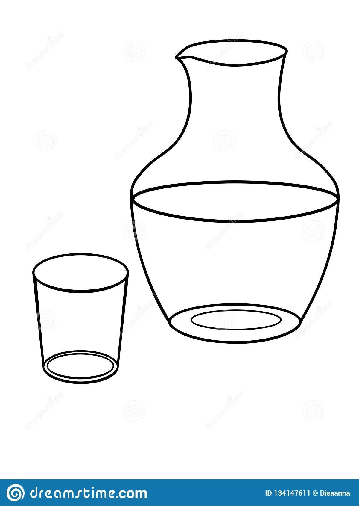 Jarro E Um Vidro Para A Agua Pratos Filtro De Vidro E Desenho