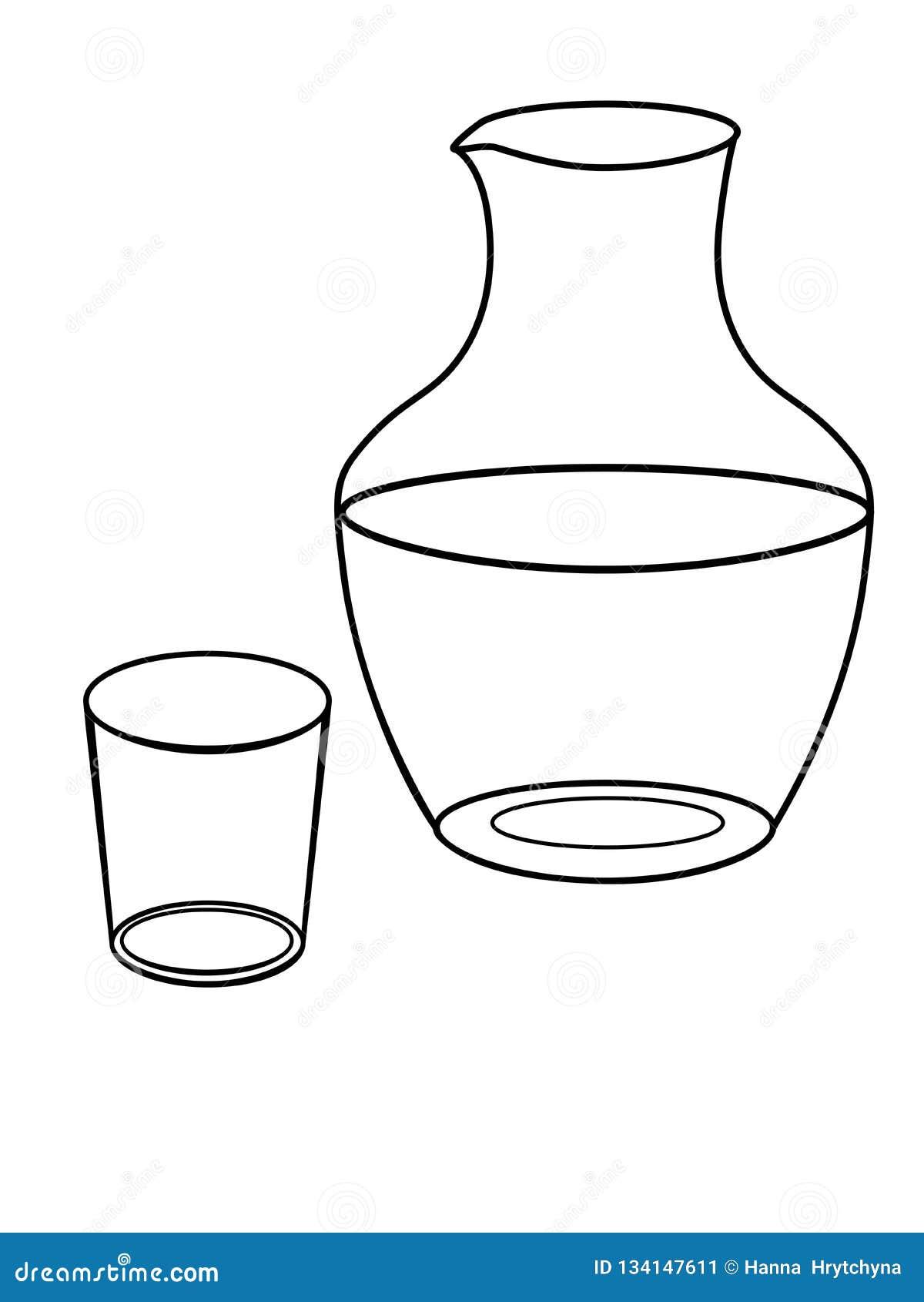 Jarro Y Un Vidrio Para El Agua Platos Jarra De Cristal Y