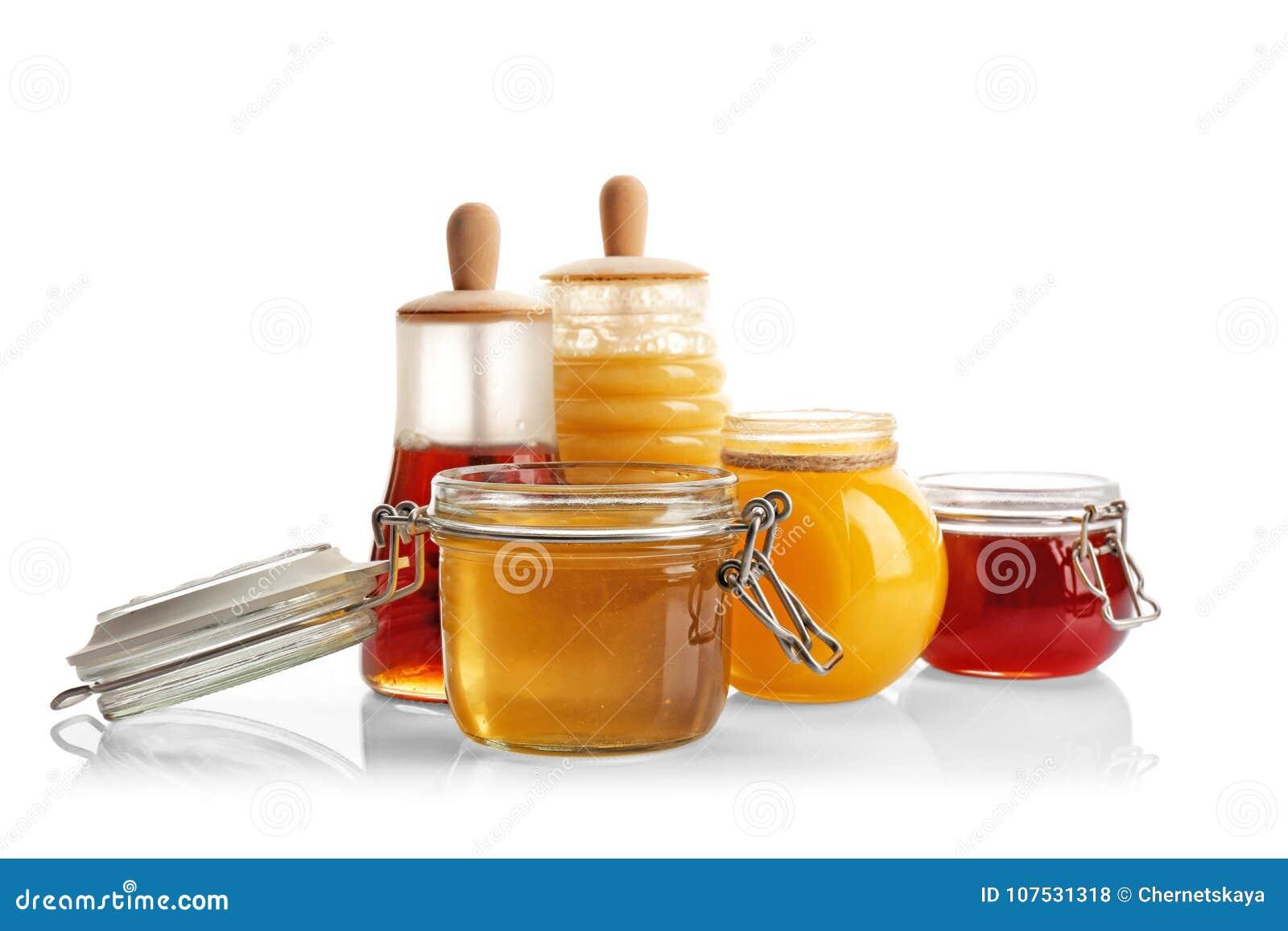 Jars with aromatic honey