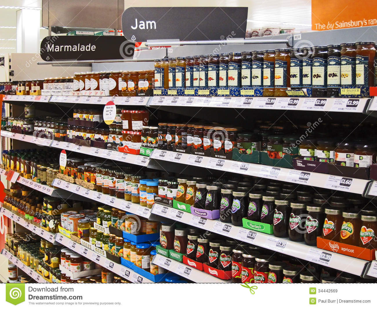 Jars Of Jelly Or Jam On A Superstore Shelf Editorial