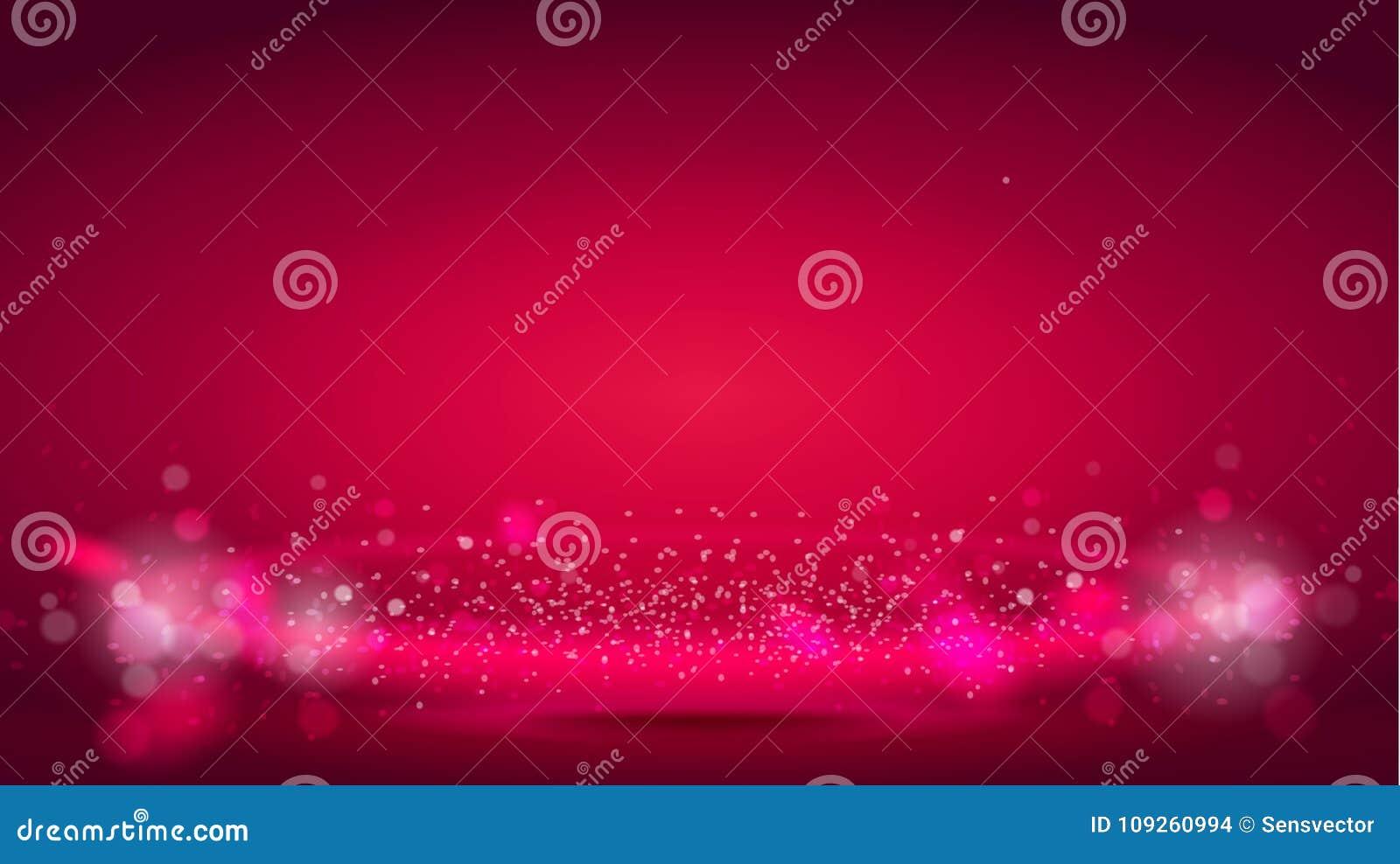 Jarzeniowa lekkiej fala lub światła aura na czerwonym bokeh tle Abstrakcjonistyczni dekoracyjni elementy dla projektów uses Jaskr
