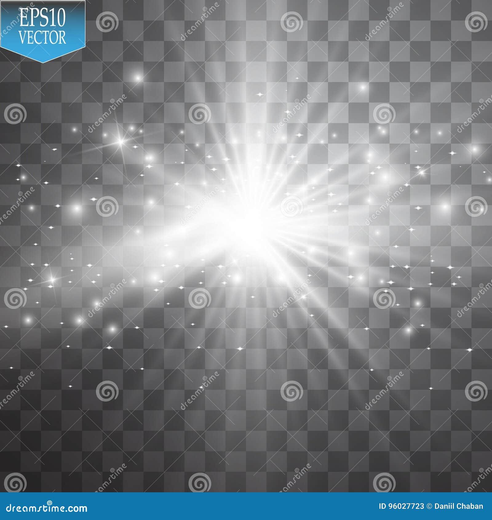 Jarzeniowy lekki skutek Starburst z błyska na przejrzystym tle również zwrócić corel ilustracji wektora