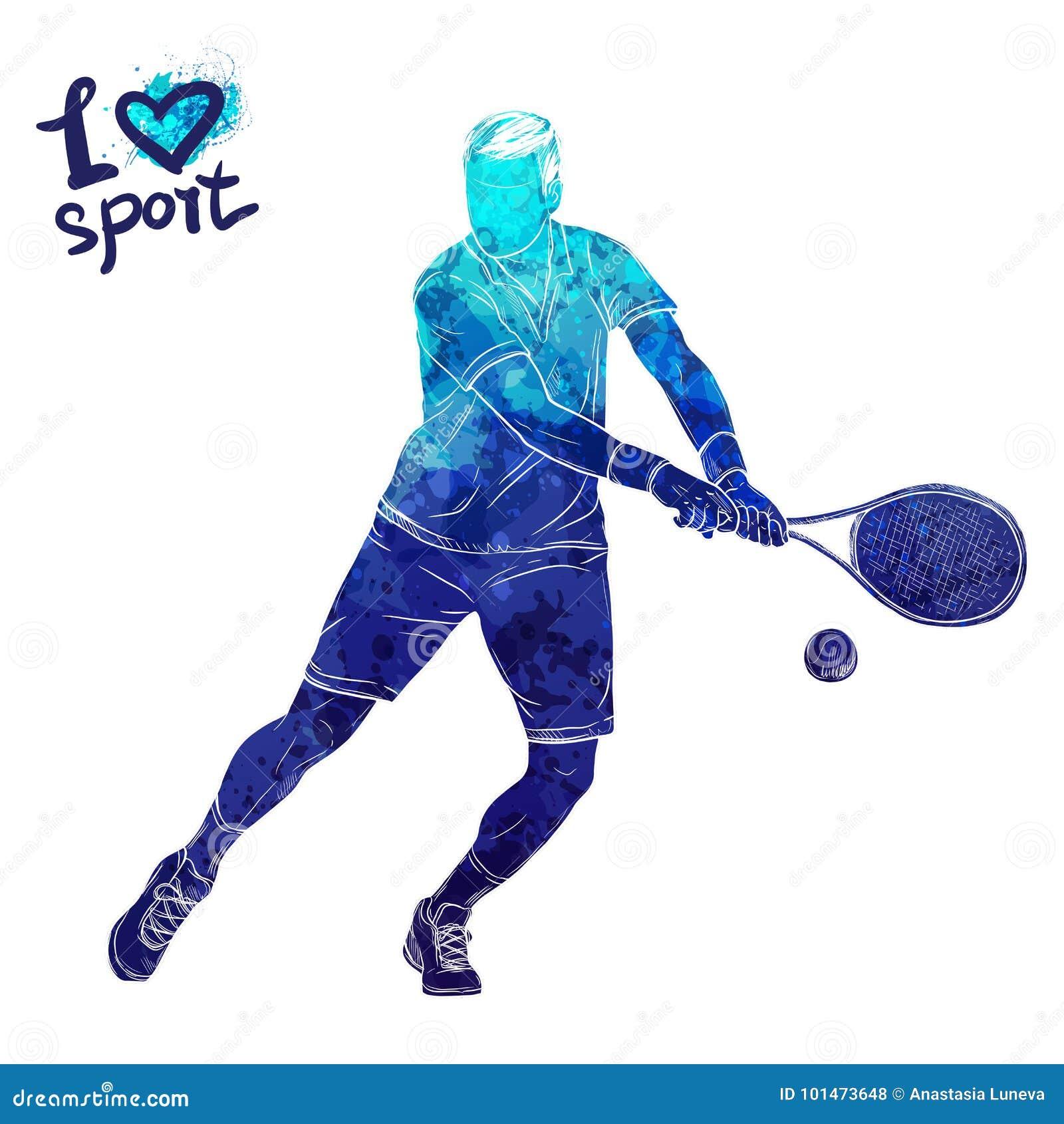 Jaskrawa akwareli sylwetka gracz w tenisa Wektorowa sport ilustracja Graficzna postać atleta Aktywni ludzie