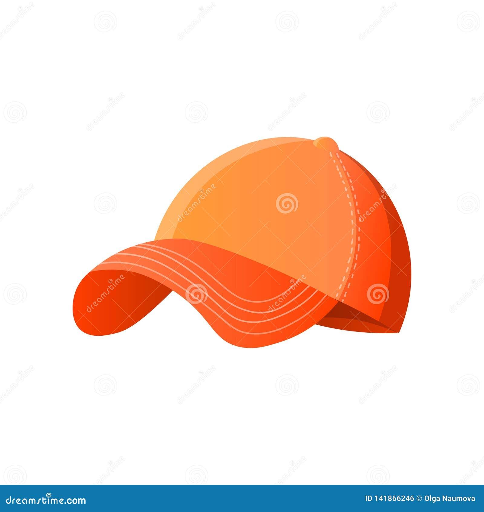 Jaskrawa pomarańczowa baseball nakrętka odizolowywająca na białym tle