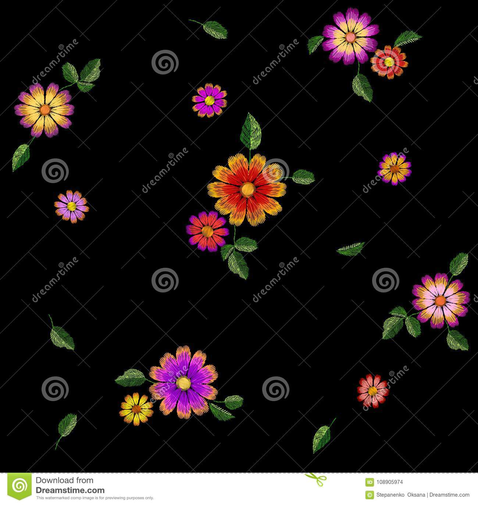 Jaskrawego kwiatu hafciarski kolorowy bezszwowy wzór Mody dekoraci tekstury zaszyty szablon Etniczny tradycyjny