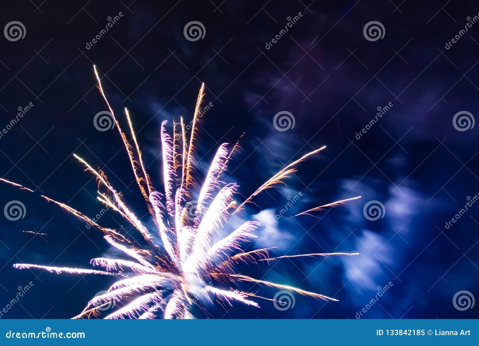 Jaskrawi świąteczni fajerwerki przeciw tłu nocne niebo