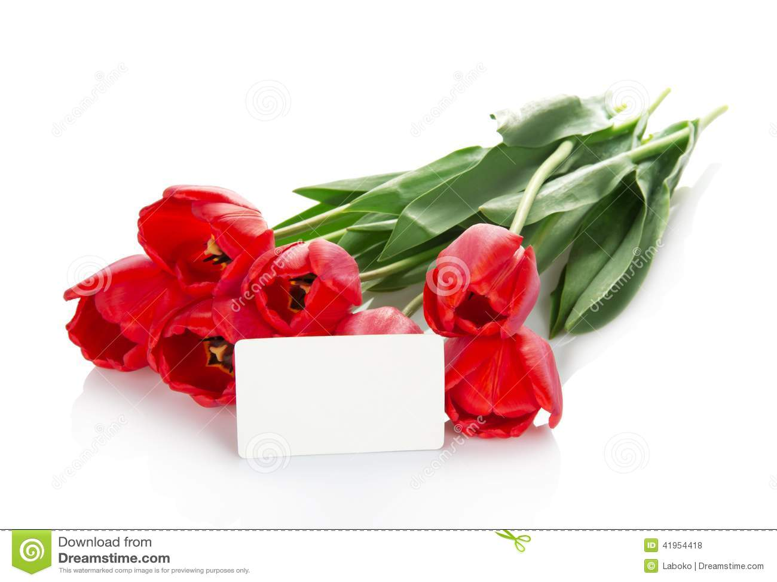 Jaskrawi czerwoni tulipany i opróżniają kartę dla listu