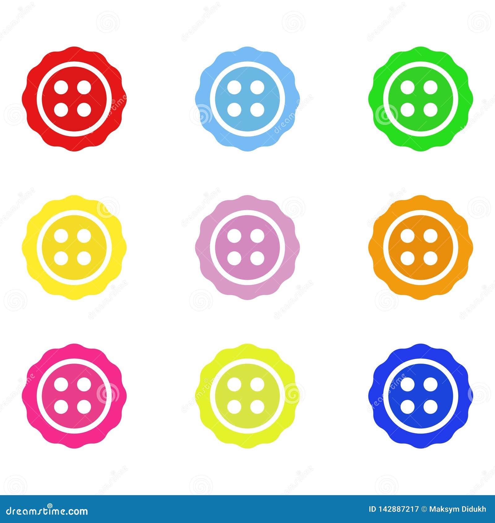 Jaskrawi kolorów guziki Set guziki dla odziewa również zwrócić corel ilustracji wektora 10 eps