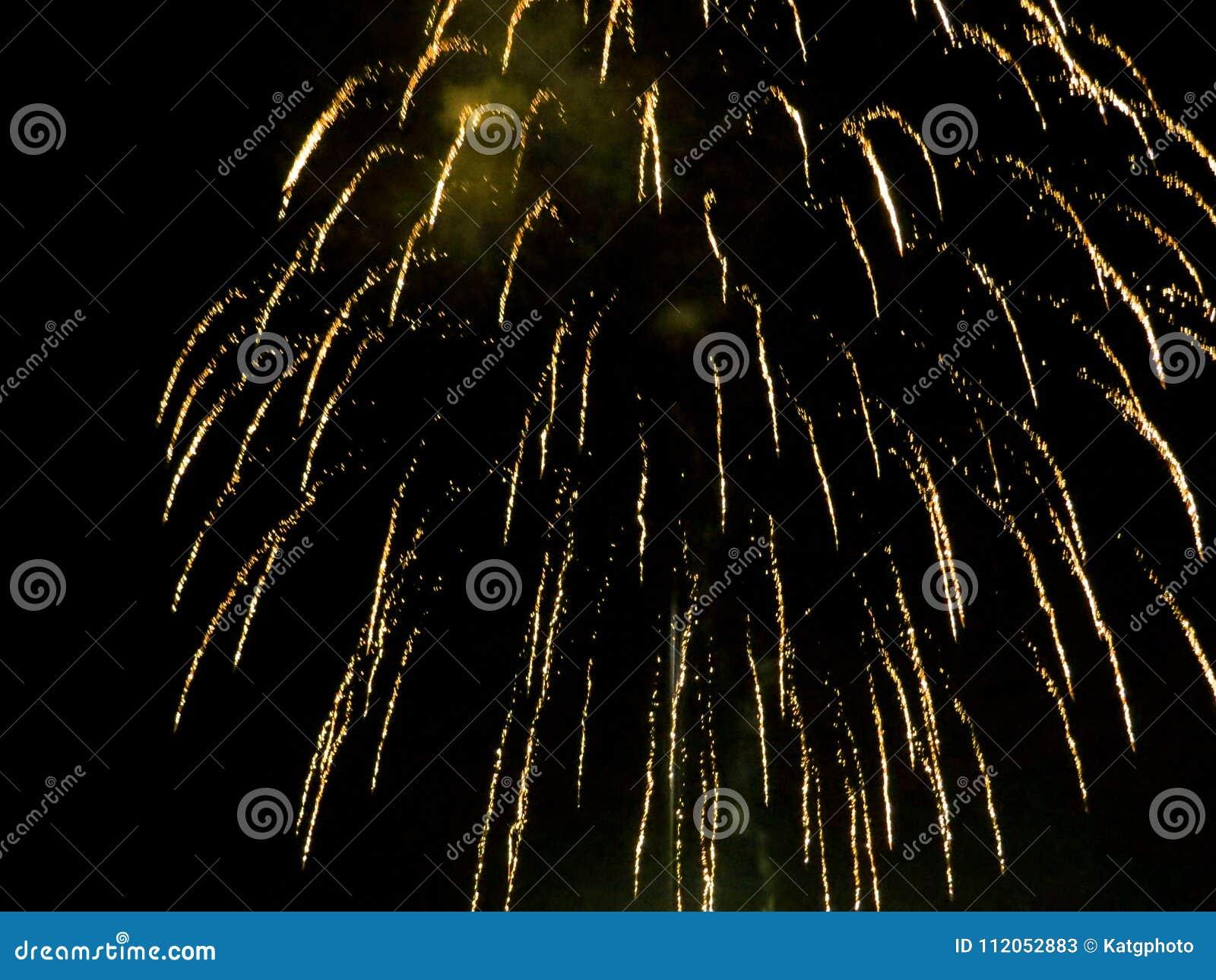 Jaskrawi Złoci fajerwerki Zaświecają Up nocne niebo