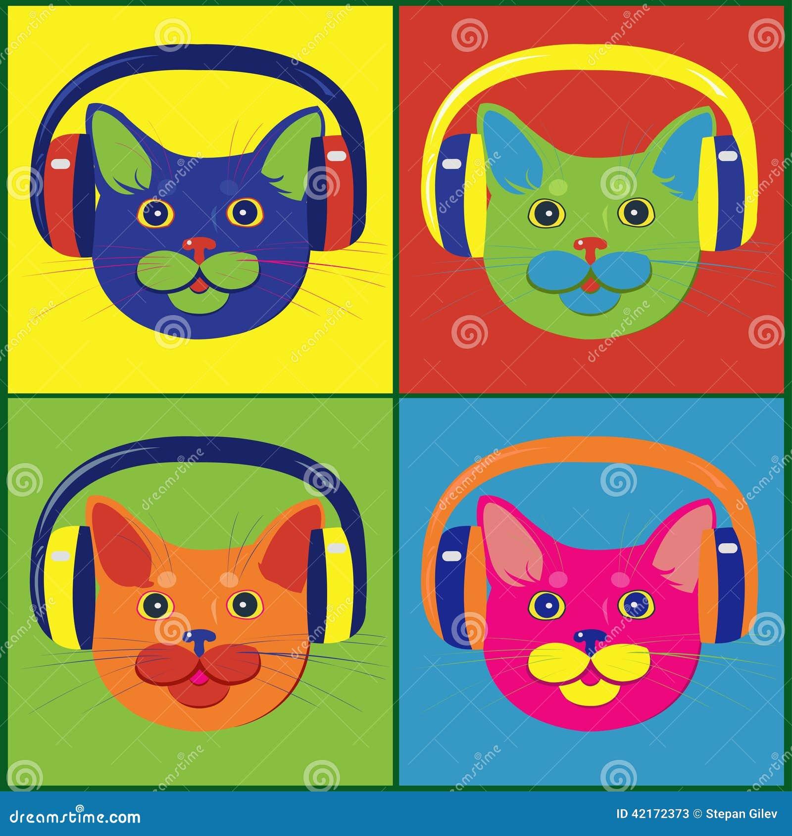 Jaskrawy barwiący koty w muzycznych hełmofonach