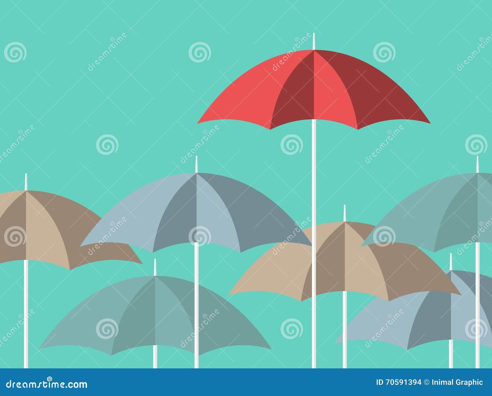 Jaskrawy czerwony unikalny parasol