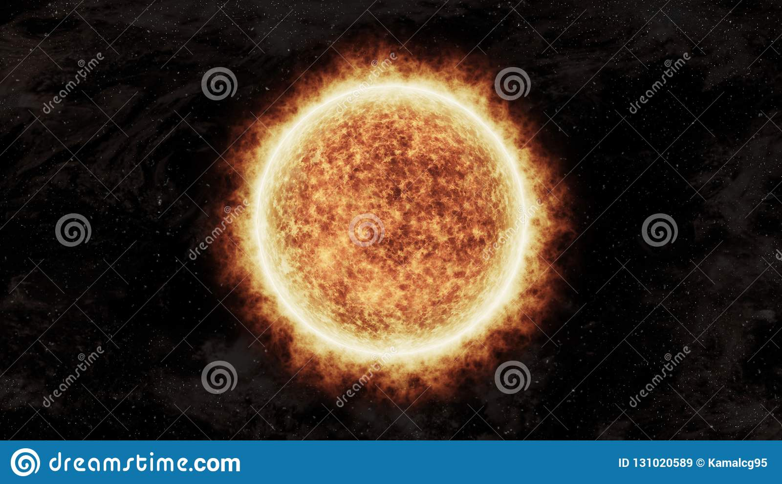 Jaskrawy i gorący pomarańczowy słońce w przestrzeni