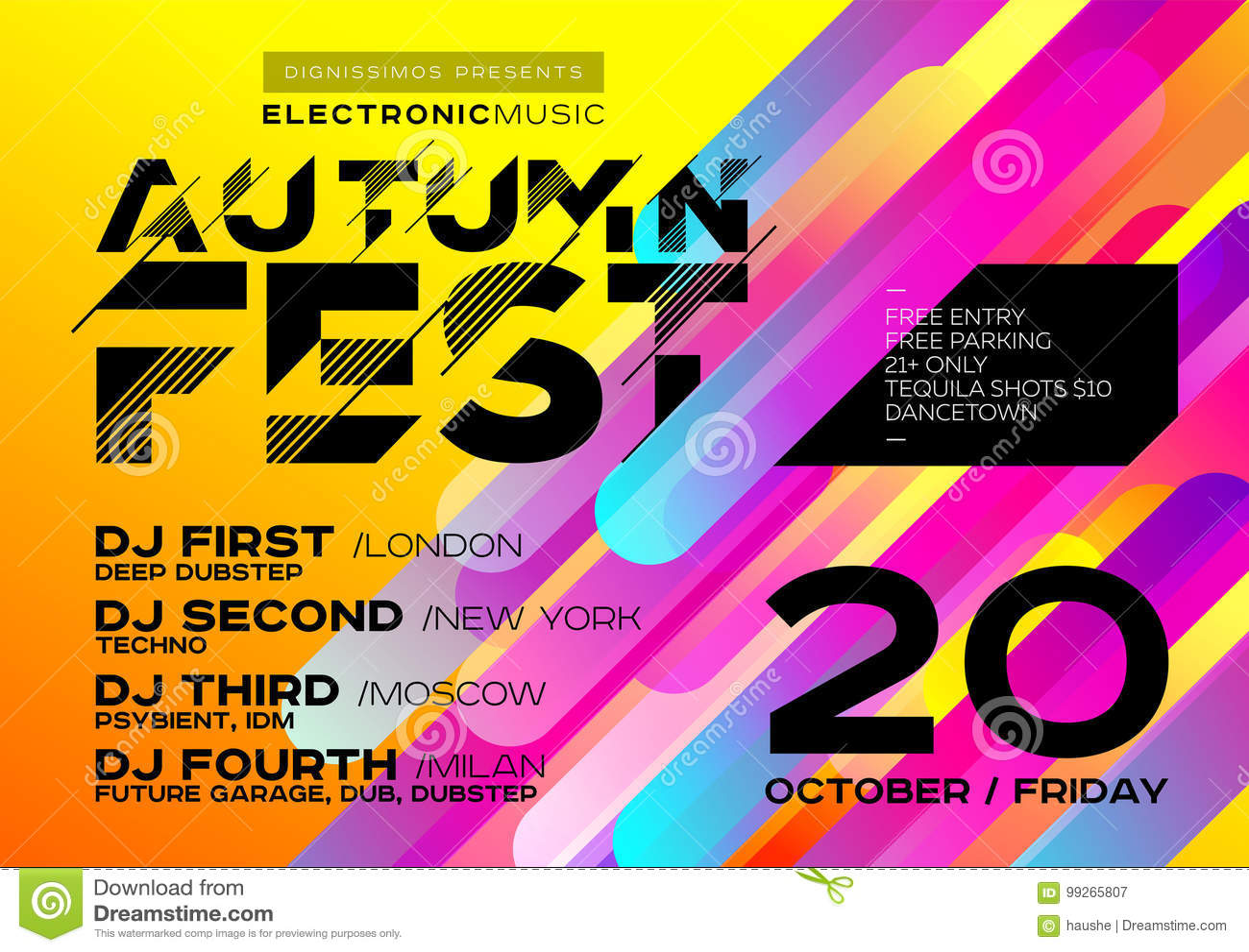 Jaskrawy jesieni Elektronicznej muzyki plakat dla festiwalu lub DJ Bawimy się
