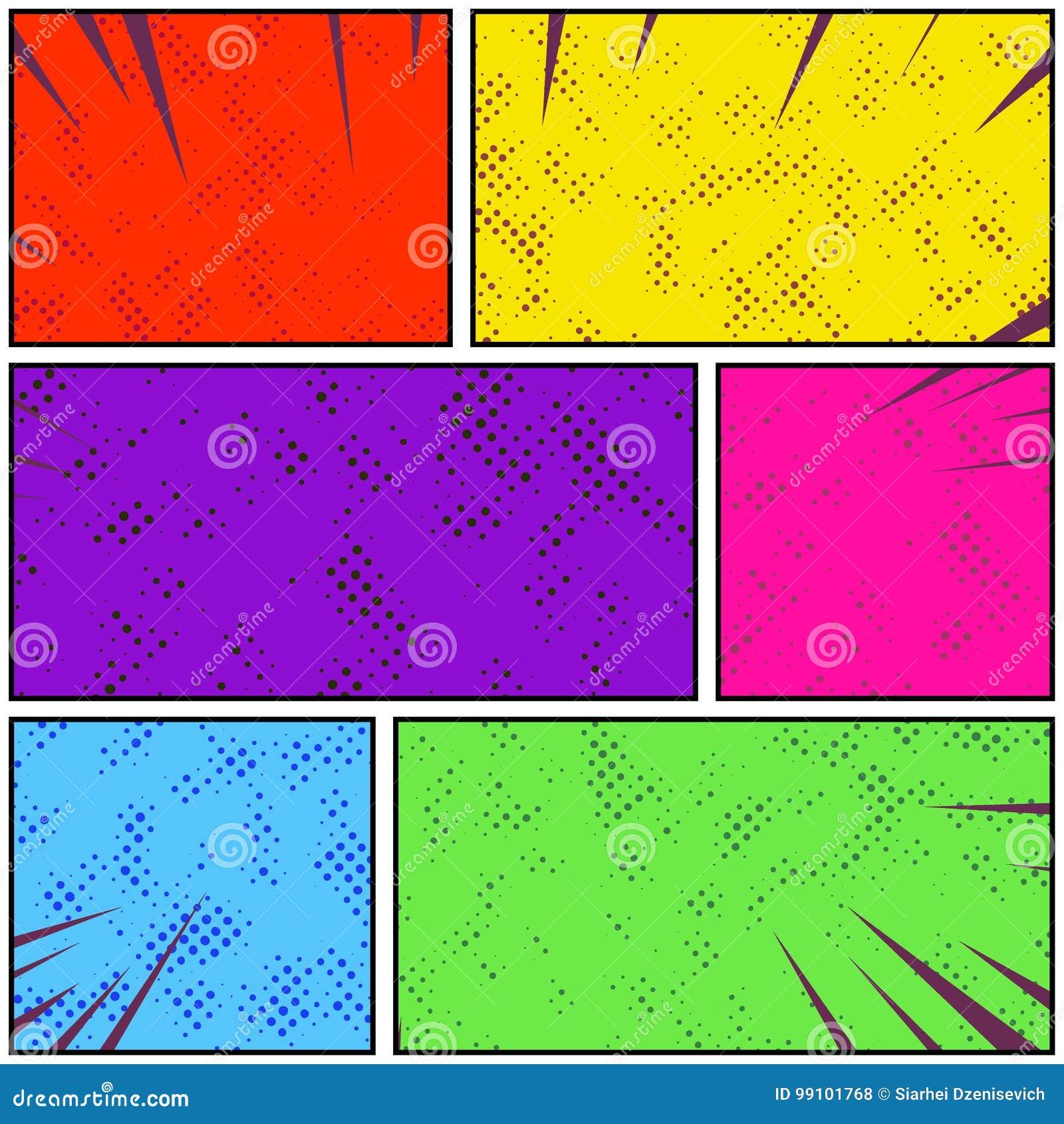 Jaskrawy kolorowy retro stylowy wystrzał sztuki strony komiczny pasek Abstrakcjonistyczny d