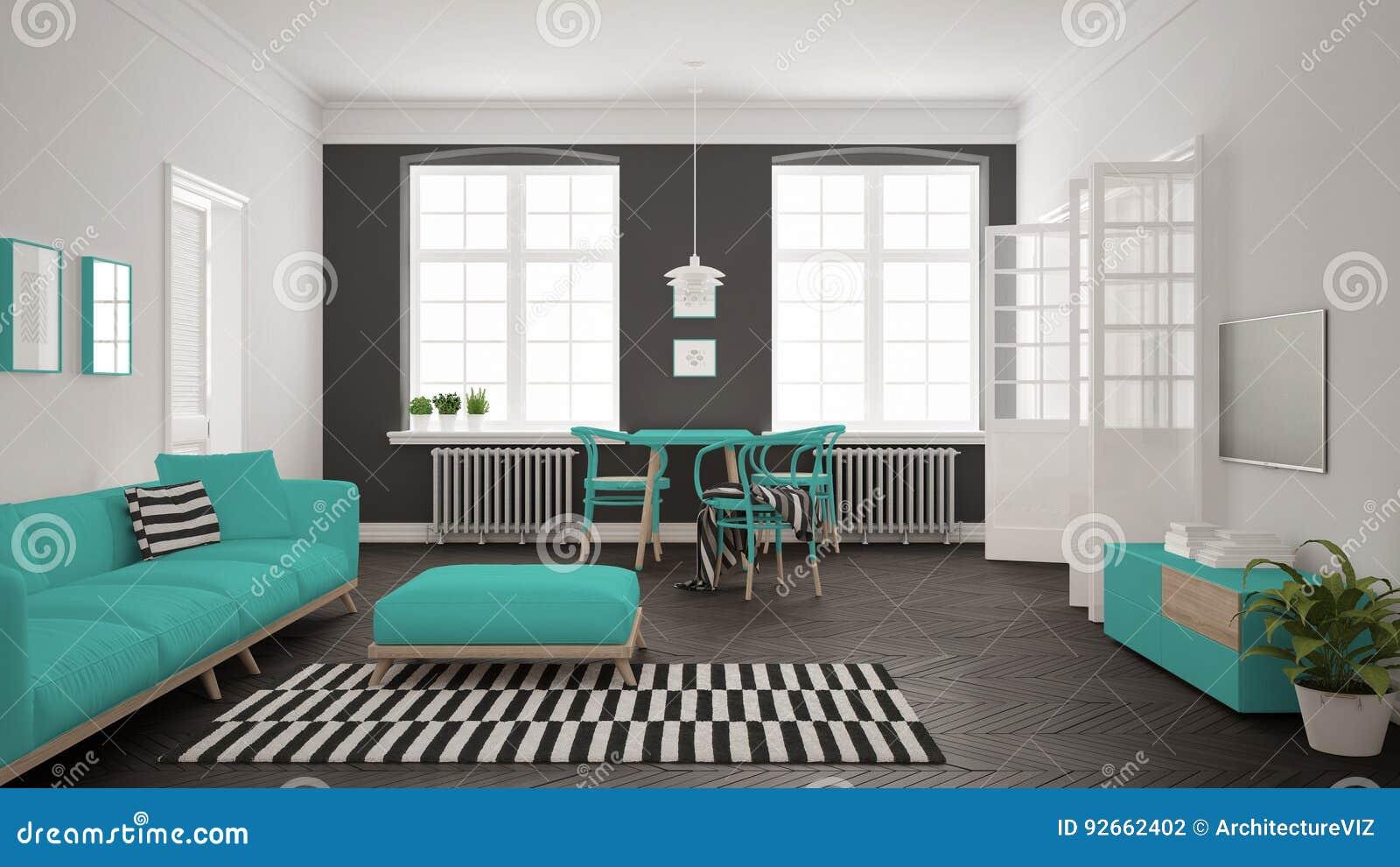Jaskrawy minimalistyczny żywy pokój z kanapą i łomotać stołem, scandi