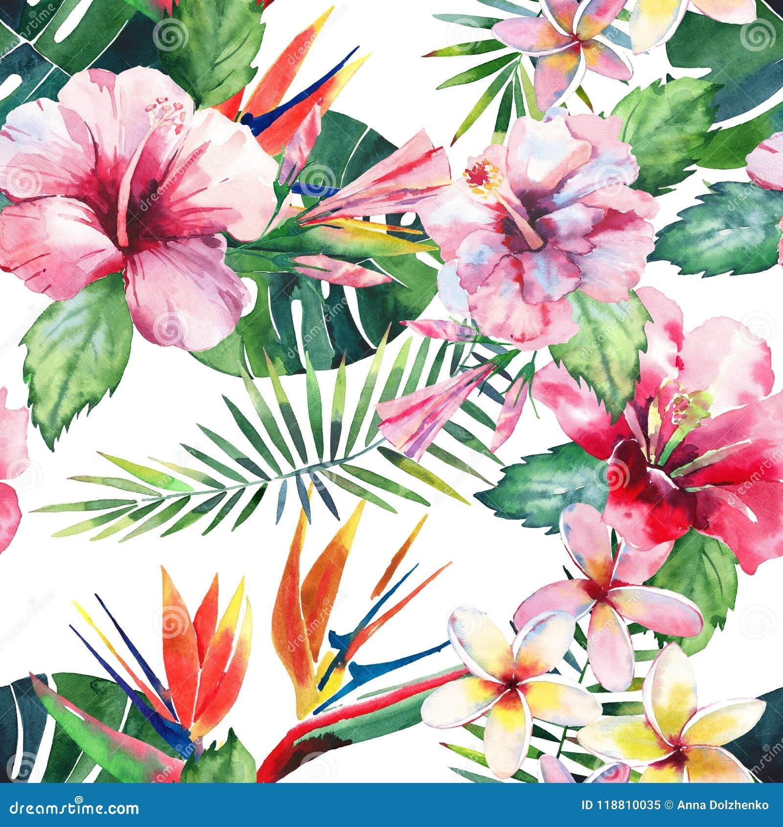 Jaskrawy piękny zielony kwiecisty ziołowy tropikalny uroczy Hawaii lata śliczny multicolor wzór tropikalny kolor żółty kwitnie na