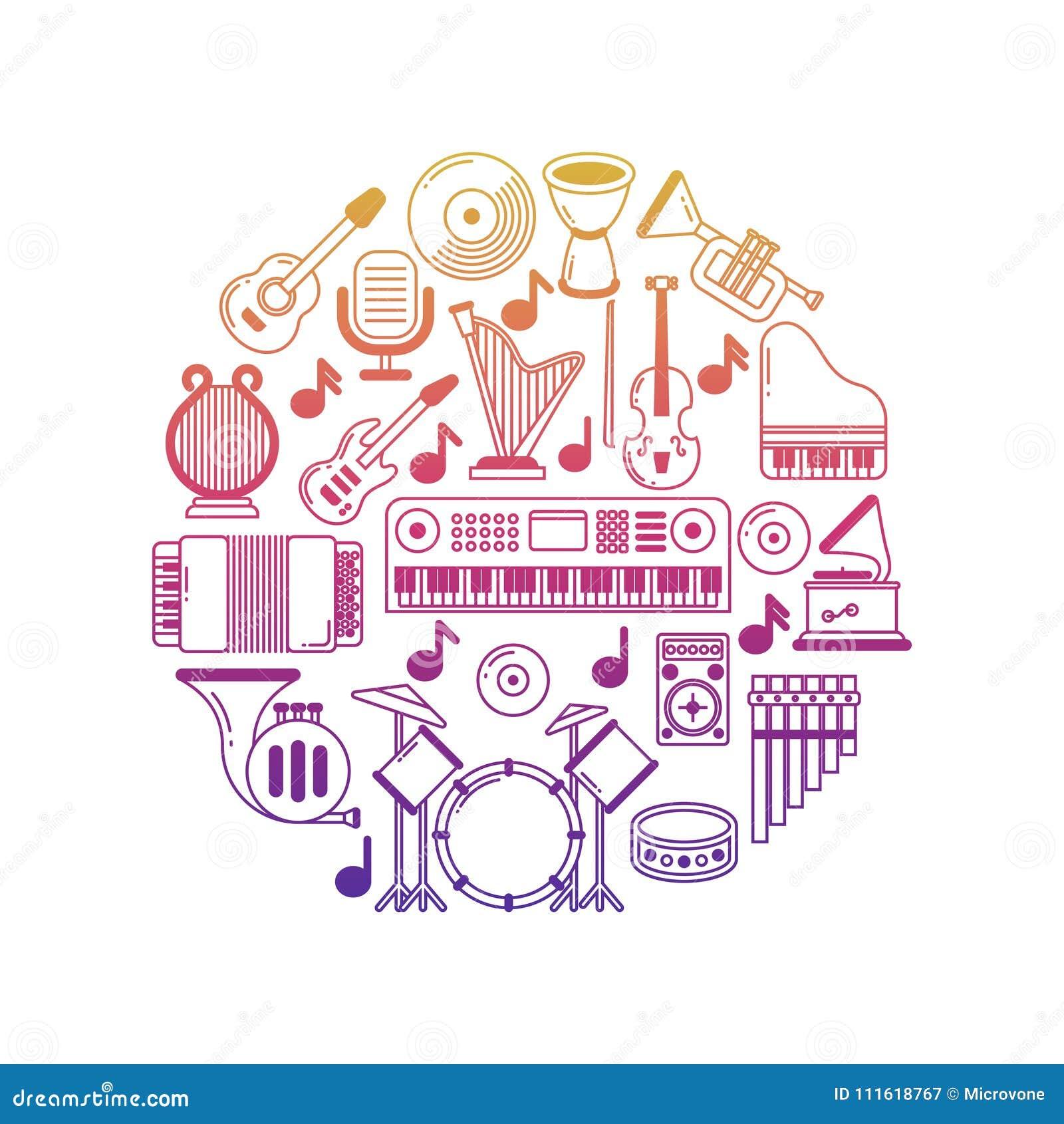 Jaskrawy wektorowy muzyczny plakat z instrument muzyczny ikonami