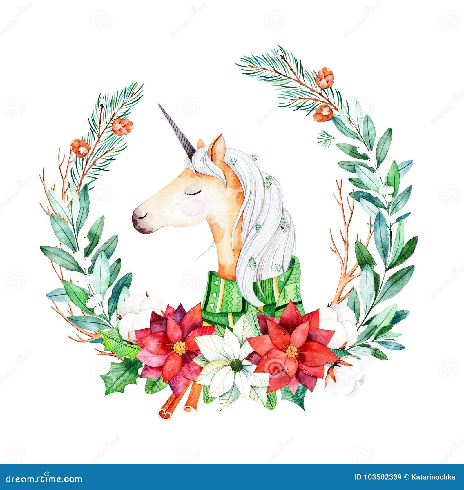 Jaskrawy wianek z liśćmi, gałąź, jedliną, bawełnianymi kwiatami, poinsecją i śliczną jednorożec z zima szalikiem,
