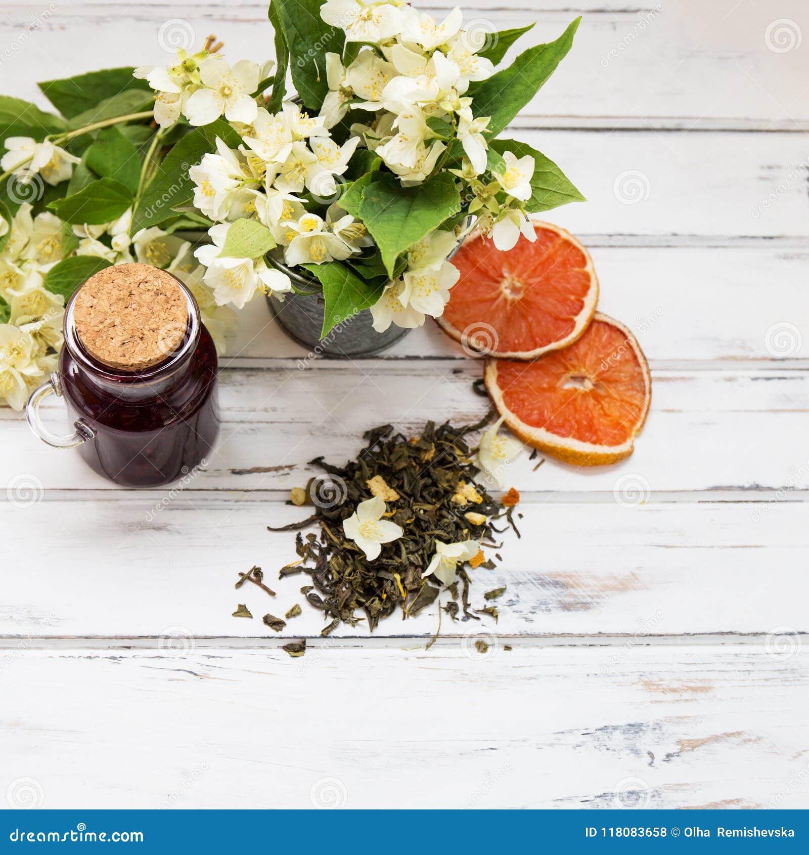 Jasmine Dry Green Tea Leaves With Jasmine Flowers Stock Photo