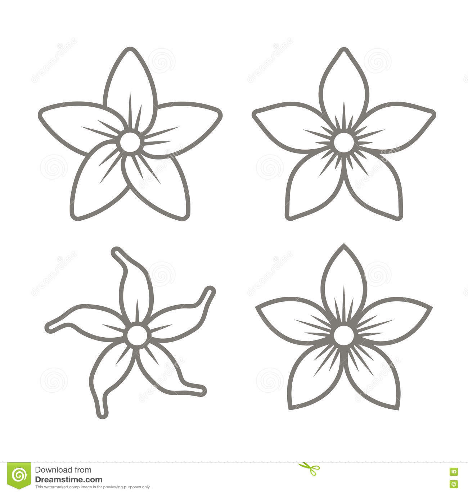 Jasmine Flower Icons Set On White Background Vector Stock Vector