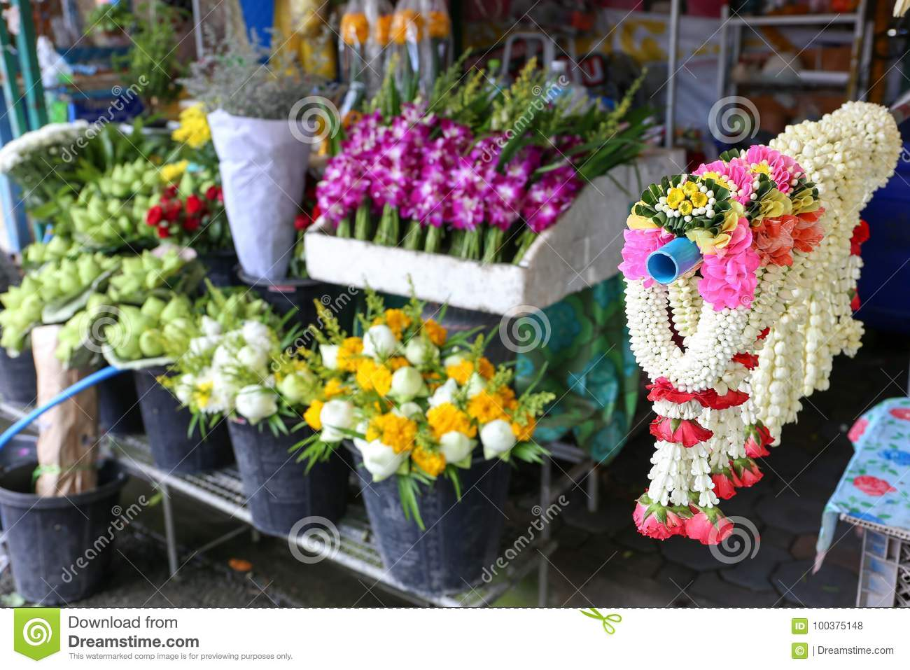 Jasmine Garland For Sell At Local Flower Shop In Ratchaburi