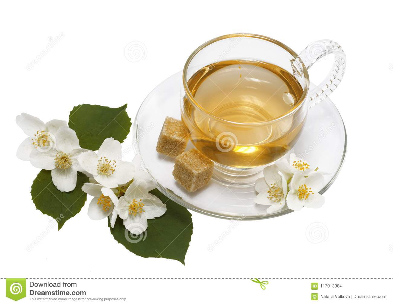 Jasmine Tea In Glass Cup And Jasmine Flowers On White Isolated