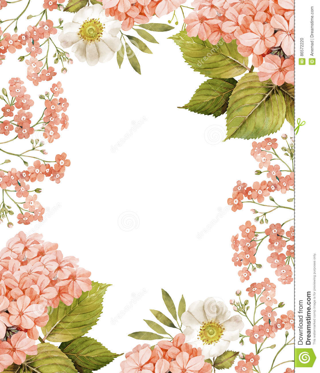Jasmine White Roses And Forget Me Not Background Stock Illustration