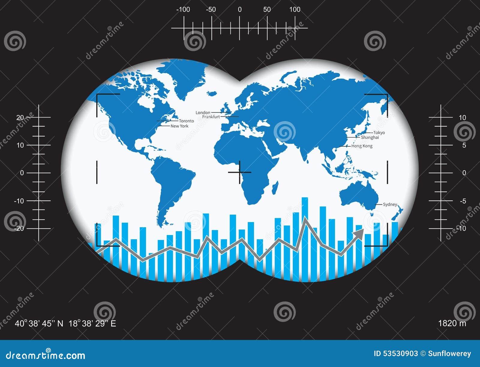 Jasny wzrok globalny pieniężny występ