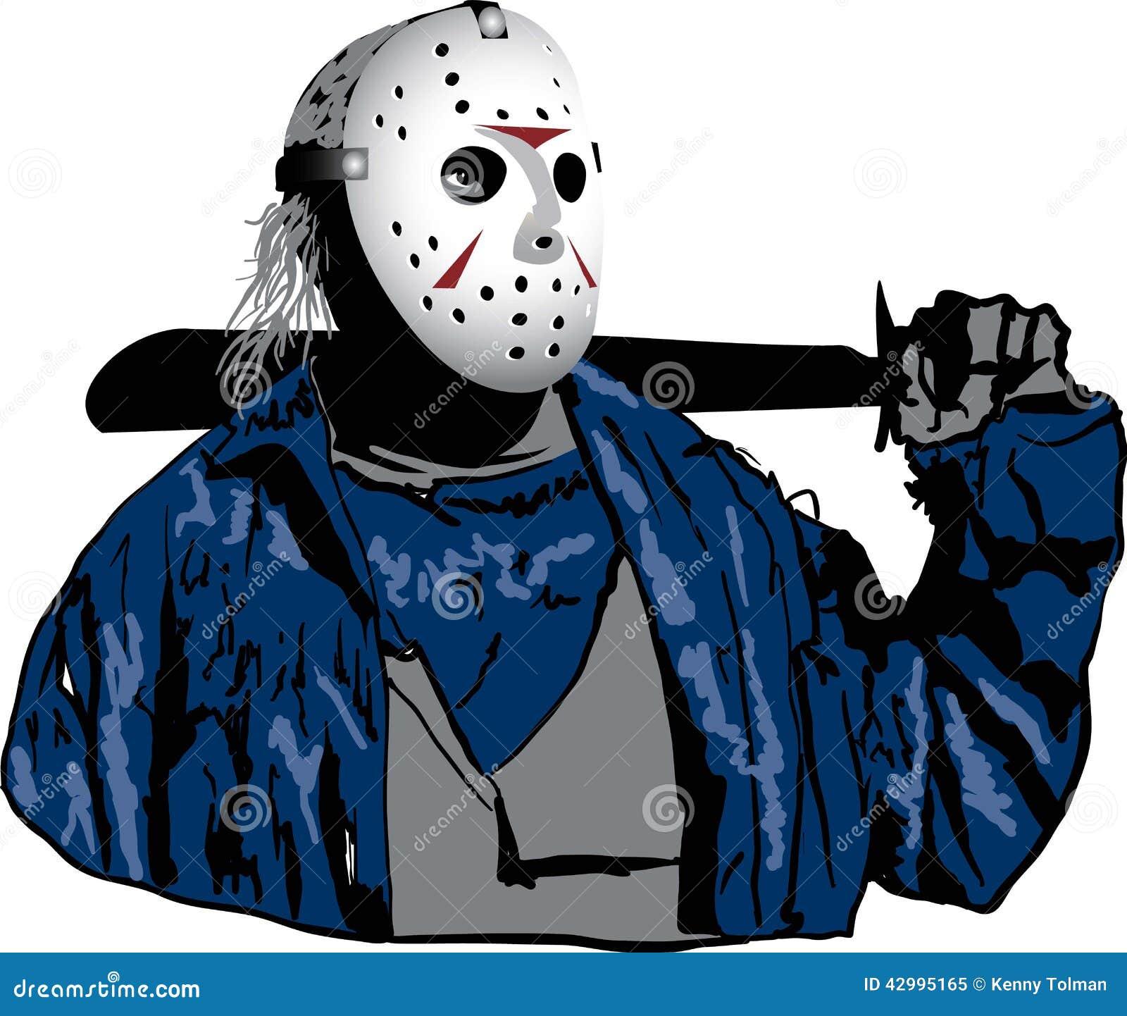 Halloween Jason Mask Cartoon.Jason With Hockey Mask On Stock Illustration Illustration Of Jason