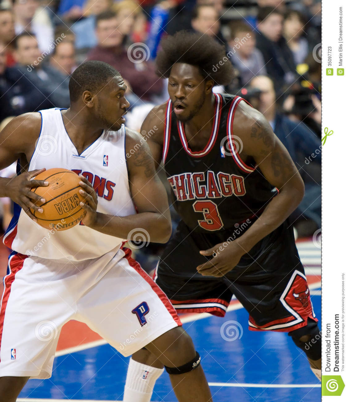 Jason Maxiell Is Guarded By Ben Wallace Editorial Stock