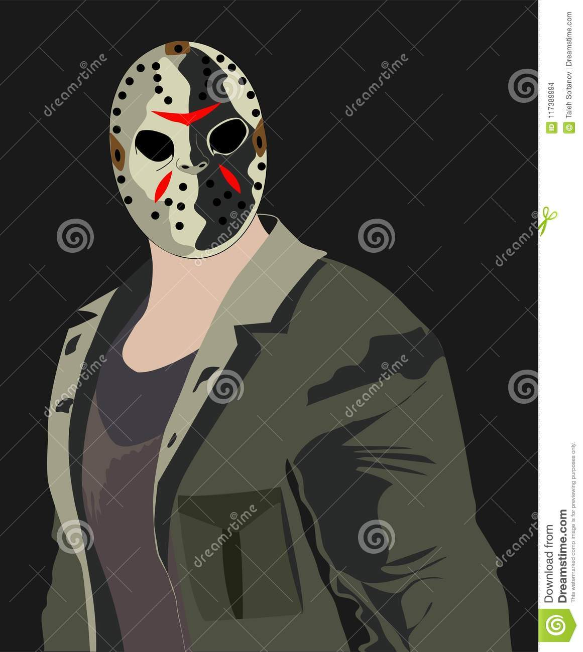 Jason Voorhees Horror Portret Stock Vector Illustration Of Face