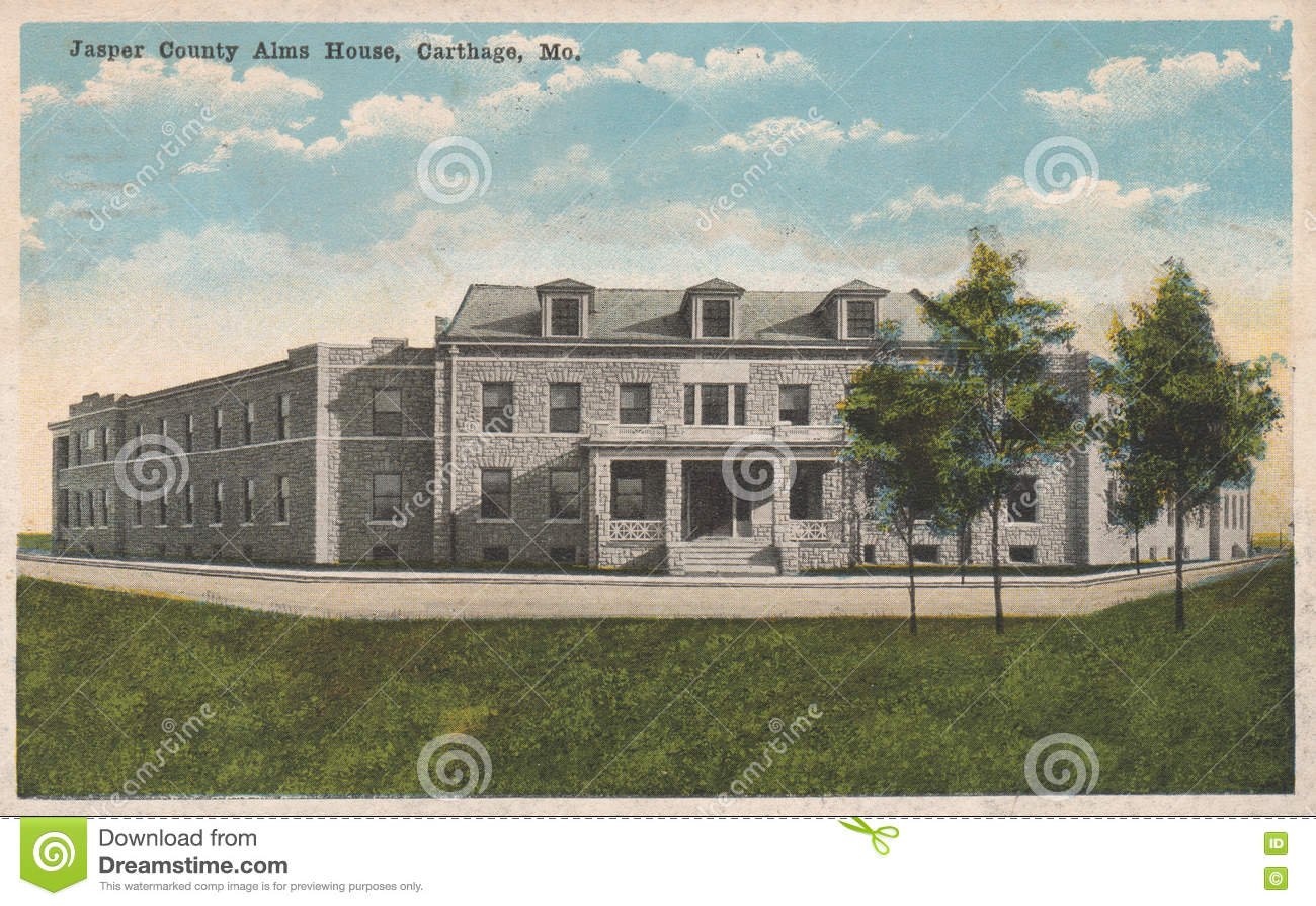 Jasper County Alms House Postcard Karthago MO