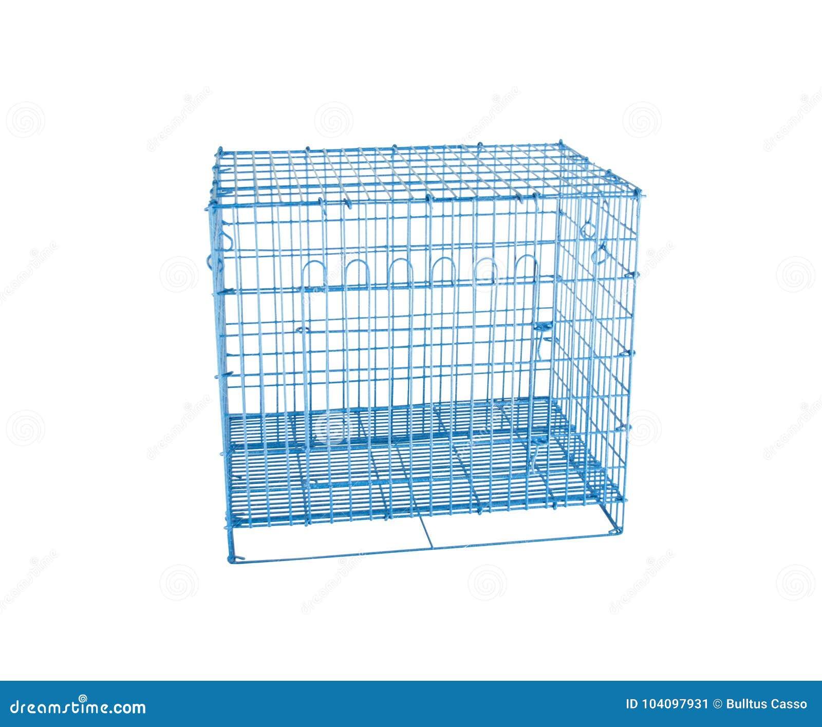 Jaula de acero del azul para los animales domésticos en blanco aislado